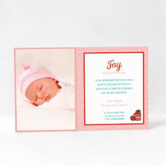 Carte de remerciement Envie de fraise fille