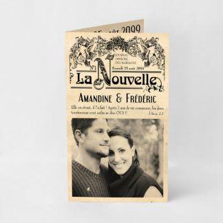 Faire-part mariage vieux journal vintage FM04-VIN-2