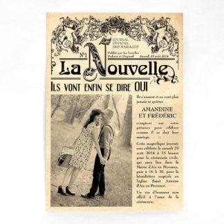 Faire-part Vieux journal vintage grand format FM07-VIN-2