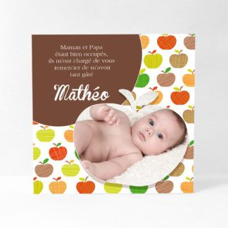 Carte de remerciement garçon. Dessins stylisés de pommes vertes, oranges et brunes. Une photo dans le coin bas, sertie d'une contour pomme, et un encart chocolat pour le texte personnalisé. RN11-NAT-5B