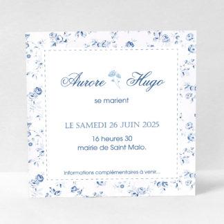 Save the date chic Fleur bleue DM53-FLO-18