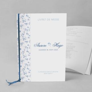 Livret de messe chic Fleur bleue EM73-FLO-18