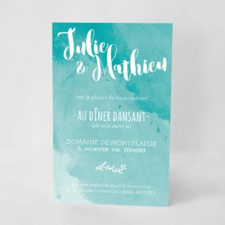 Carton d'invitation graphique Turquoise LM09-ART-3T