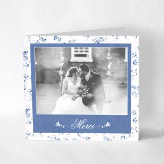 Faire-part de remerciement chic Fleur bleue RM01-FLO-18