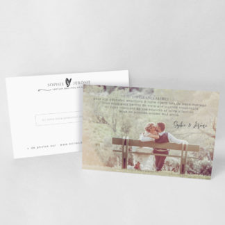 Carte de remerciement chic Blanche RM59-TRA-111