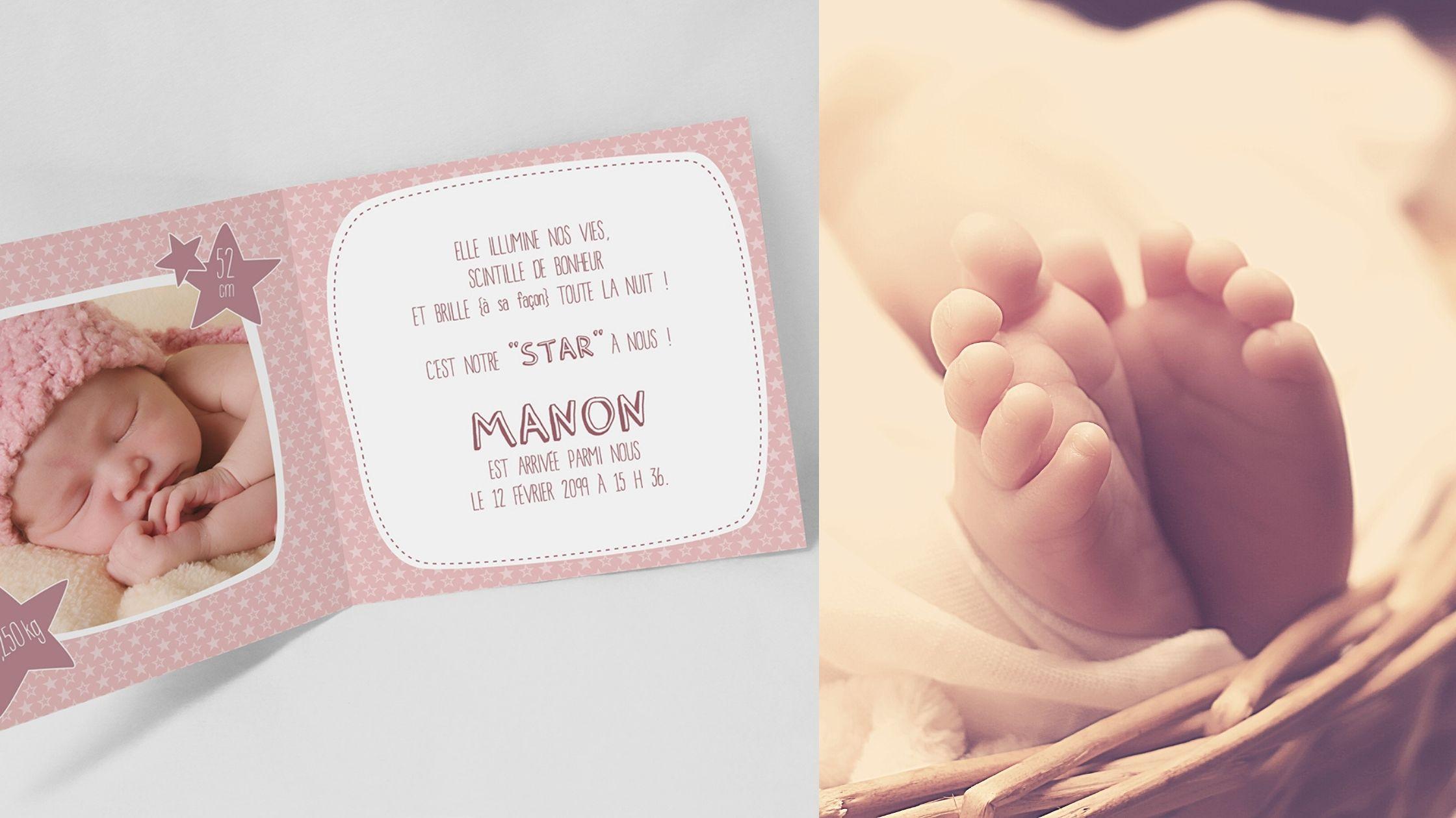 Une étoile est née ! Annoncez la naissance de votre petite fille sur un air céleste!