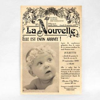 Faire-part naissance vieux journal vintage