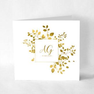 Faire-part mariage dorure or - Golden Leaf FM01-FLO-110-GO