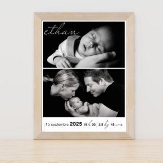Affiche naissance noir et blanc - PN3040-GRA-100