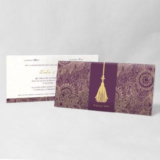Faire-part mariage Sherazade Prune - FM51-ORI-6P
