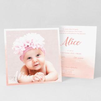 Faire-part carte Aquarelle rose fille - FN39-GRA-104B-RECTO