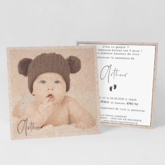 Faire-part carte Les petits petons - FN39-VIN-100-RECTO