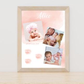 Affiche Aquarelle rose fille - PN3040-GRA-104B