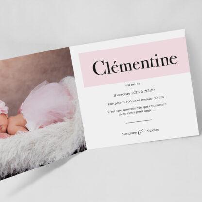 Faire-part naissance Initiale fille - FN33-MIN-103B-INT