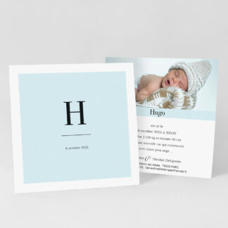 Faire-part naissance carte Initiale garçon - FN39-MIN-103A-1
