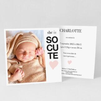 Faire-part naissance carte So cute fille - FN39-MIN-104B-1