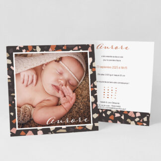 Faire-part naissance carte Minimal Terrazzo - FN39-MIN-107-1