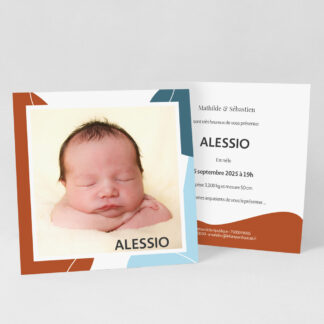 Faire-part naissance carte Design minimal garçon - FN39-MIN-108A-1