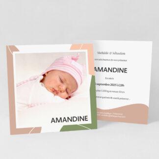 Faire-part naissance carte Design minimal fille - FN39-MIN-108B-1