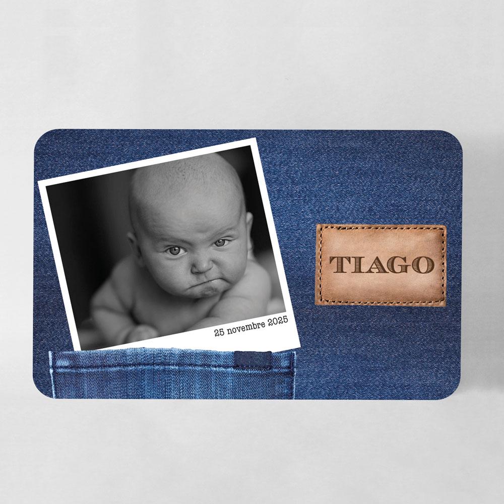 Faire-part naissance jean et polaroid grand format