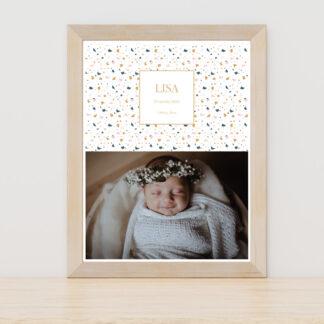Affiche naissance Terrazzo fille - PN3040-MIN-105B