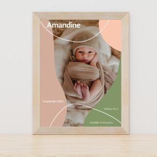 Affiche naissance Design minimal fille - PN3040-MIN-108B