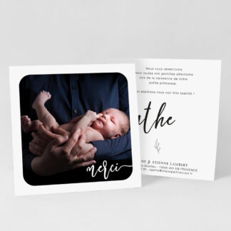 Carte remerciement naissance Elegancia - RN39-MIN-102-1