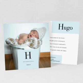 Carte remerciement naissance Initiale garçon - RN39-MIN-103A-1