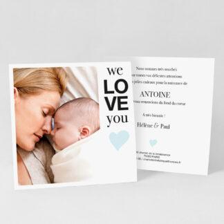 Carte remerciement naissance So cute garçon - RN39-MIN-104A-1