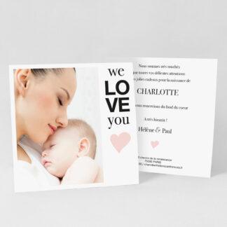 Carte remerciement naissance So cute fille - RN39-MIN-104B-1