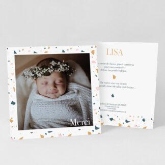 Carte remerciement naissance Terrazzo fille - RN39-MIN-105B-1