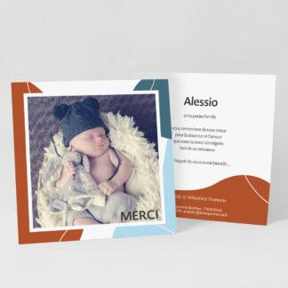 Carte remerciement naissance Design minimal garçon - RN39-MIN-108A-1