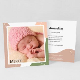 Carte remerciement naissance Design minimal fille - RN39-MIN-108B-1