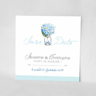 Save the date Bouquet romantique bleu DM11-FLO-16B
