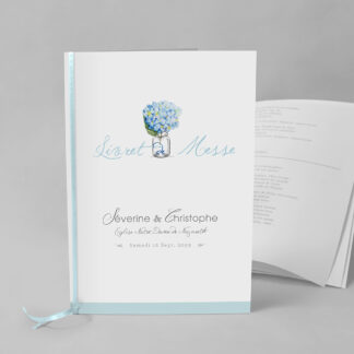 Livret de messe Bouquet romantique bleu EM73-FLO-16B