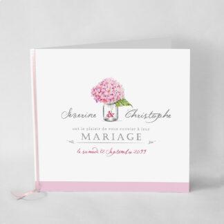 Faire-part mariage champêtre Bouquet romantique rose